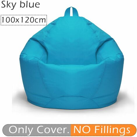 100x120cm Adult Waterproof Beanless Bean Bag Cover Indoor Chair Sofa Lazy Lounger Home No Infill (Light Gray, Gray)