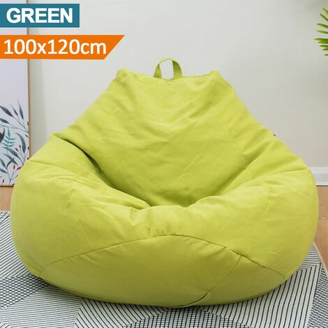 100x120CM Fashion Large Adult Sofa Cover Dirt-proof Bean Bag No Filler Home Only Cover (Green, L)