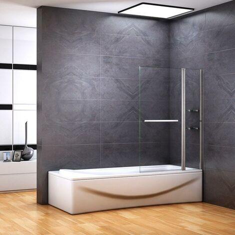 """main image of """"100x140cm Accesorio para bañera de, partición de ducha giratoria de pared de ducha de pared plegable de 2 partes"""""""
