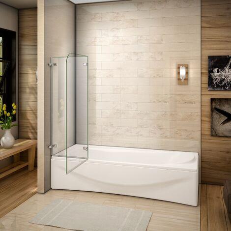 100x140cm Pare baignoire pivotant et repliable 5mm verre de sécurité