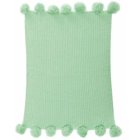 100x150cm Large Knitting Knitting Throw Crochet Blanket Yarn Cotton Baby Rug Bed Sofa ... - Vert clair