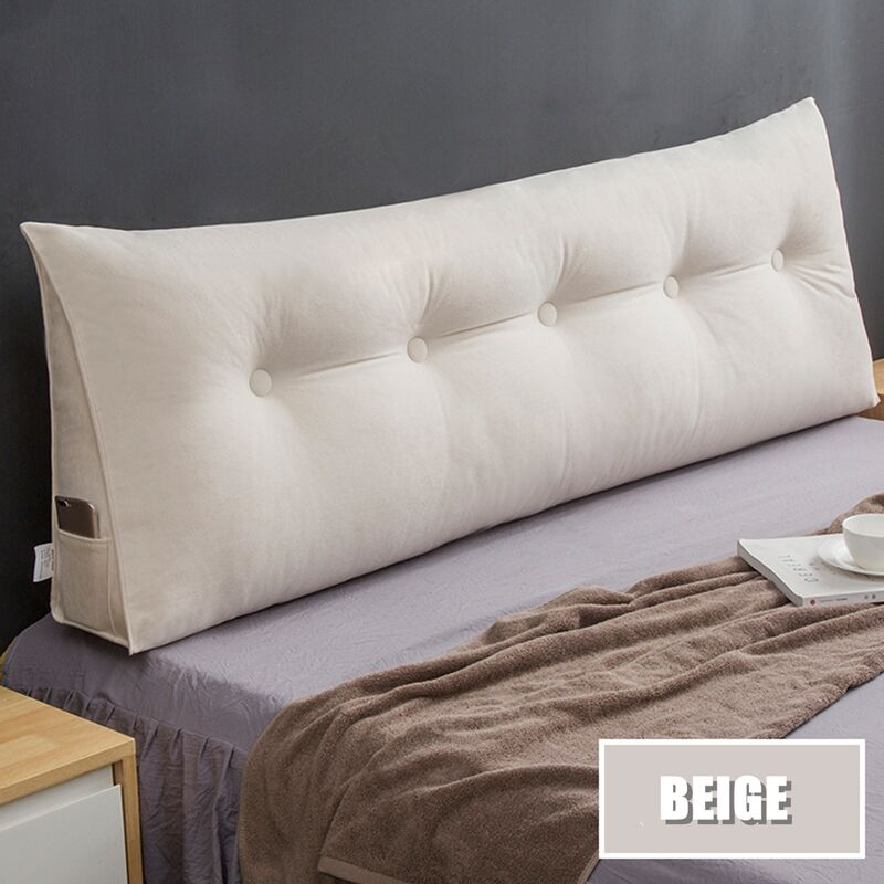 [PROMO CODE] 100x50x20cm Chenille Velours Triangle Dos Cale Coussin Doux Support Oreiller Beige