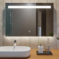 100x70 CM 25W Miroir de salle de bains avec éclairage LED Miroir Cosmétiques Mural Lumière Illumination avec Commande par Effleurement et demister ELEGANT