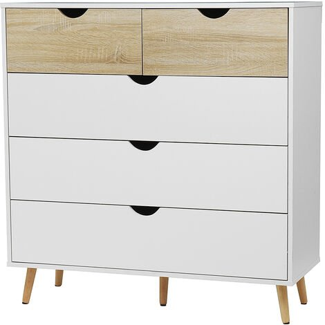 101*39*99CM Chest of Drawers 5 Drawers Clothes Chest Bedroom Furniture White+Walnut