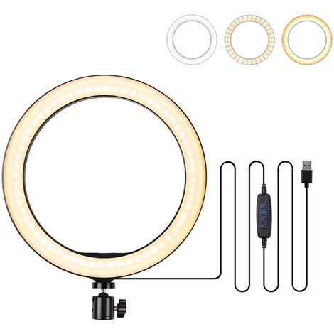 """10.2"""" LED Ring Light Dimmable Desk Camera Lamp 3 Light Modes"""
