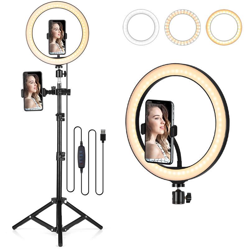 Image of 10.2' LED Ring Light Dimmable Desk Camera Lamp 3 Light Modes, Ring Light + Ball Head + Phone Holder with Bendable Neck + Side Phone Holder +