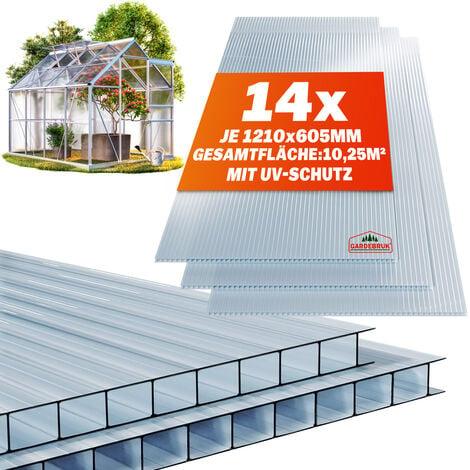 Plaque de polycarbonate creux 10,25 m² (soit 14 unités)   Plaques à double paroi, 4mm d'épaisseur