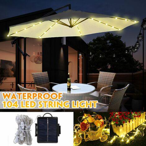 104 LED Solar Energy Umbrella String Light Garden Patio Parasol Fairy Lamp Decor (Warm White, Solar Powered)