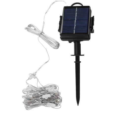 104LED Garden Solar Umbrella Fairy Light Patio Table Parasol Outdoor Decor white Solar powered without battery