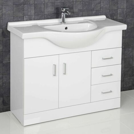 1050mm Bathroom Vanity Unit Basin Sink Tap + Waste White
