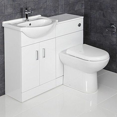 1050mm Toilet and Bathroom Vanity Unit Combined Basin Sink White