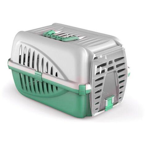 10567 Transportín de plástico para animales mod. PANZER 50x33x21 cm -made italy | Verde