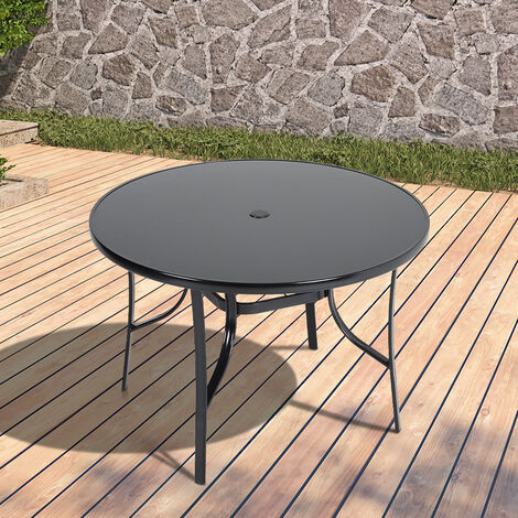 """main image of """"105CM Garden Glass Top Table With Umbrella Hole, Round"""""""