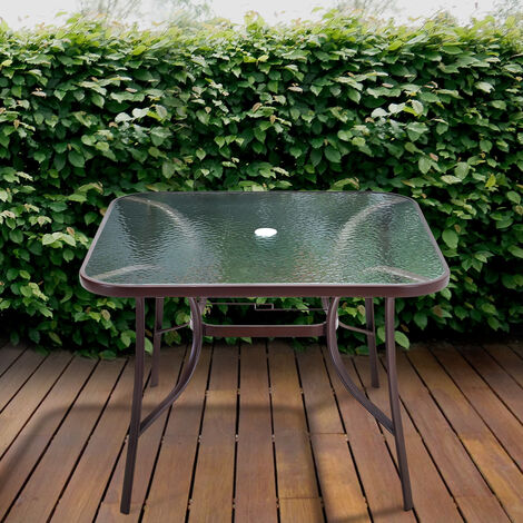 105CM Garden Ripple Glass Square Table With Umbrella Hole, Brown