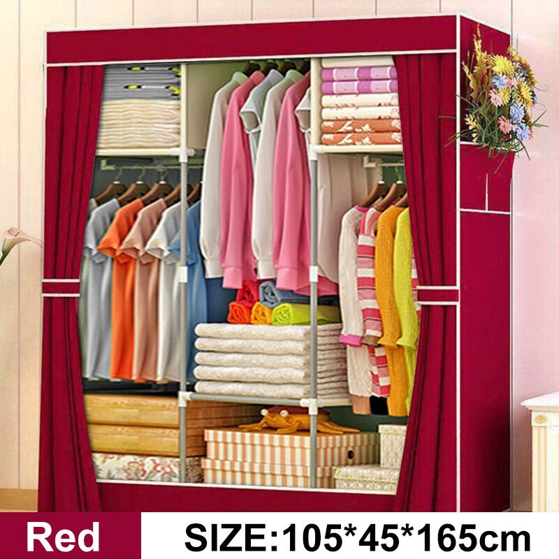 Image of 105x45x165cm Portable Clothes Closet Non-woven Fabric Folding Clothing Storage Red - MAEREX