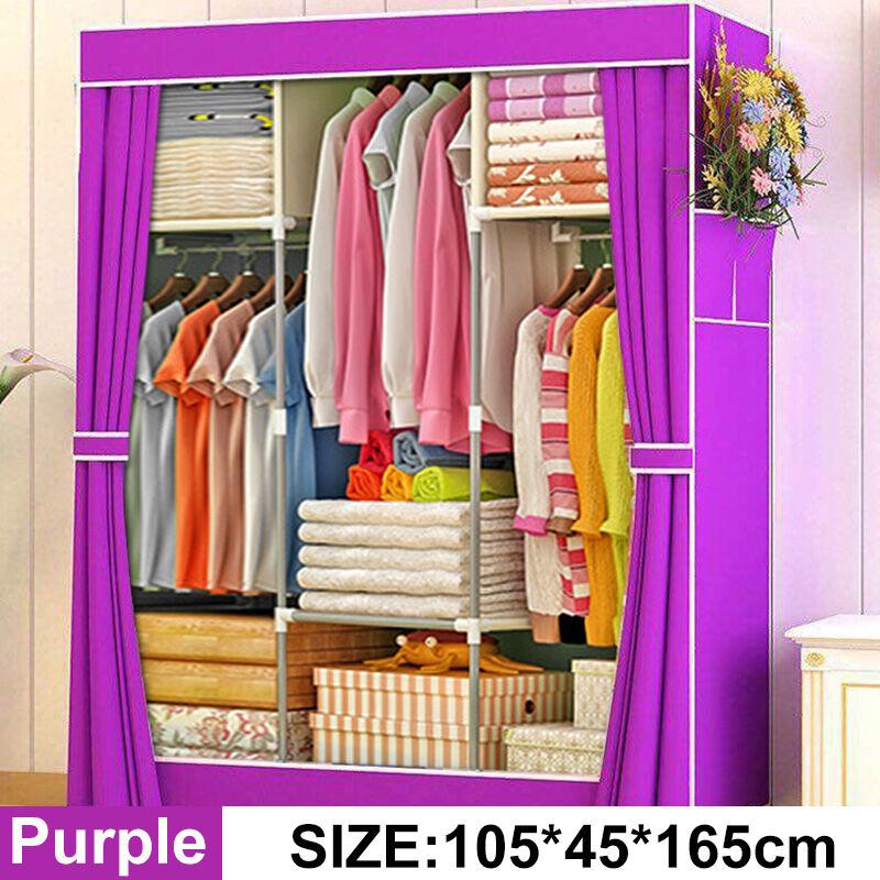 Image of 105x45x165cm Portable Clothes Closet Non-woven Fabric Folding Clothing Storage Purple - MAEREX