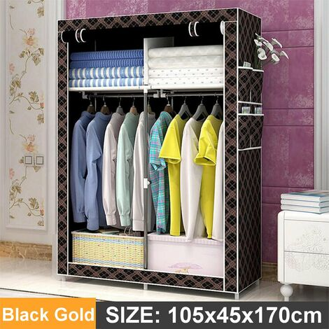 105x45x170cm Black Gold DIY Non-woven Fabric Wardrobe With 4 Pockets Home Clothes Closet Storage Organizer