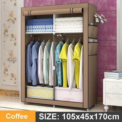 105x45x170cm Coffee DIY Non-woven Fabric Wardrobe With 4 Pockets Home Clothes Closet Storage Organizer