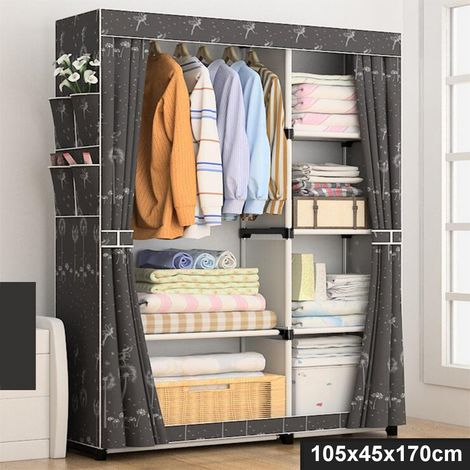 105x45x170cm Non Woven Fabric Wardrobe Home Clothes Closet Storage Organizer