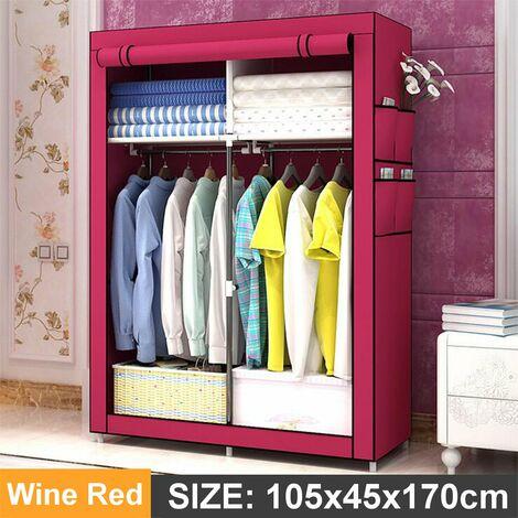 105x45x170cm Wine Red DIY Non-woven Fabric Wardrobe With 4 Pockets Home Clothes Closet Storage Organizer