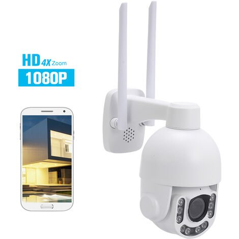 1080P 2.0Mp Ip Sans Fil Wifi Vitesse Camera Dome Ptz Hd Camera De Securite Exterieure Etanche Ip66 2,8-12Mm Zoom Optique 4X Onvif P2P Ir-Cut Night Vision Telephone App Controle De Detection De Mouvement Pour La Maison De Securite