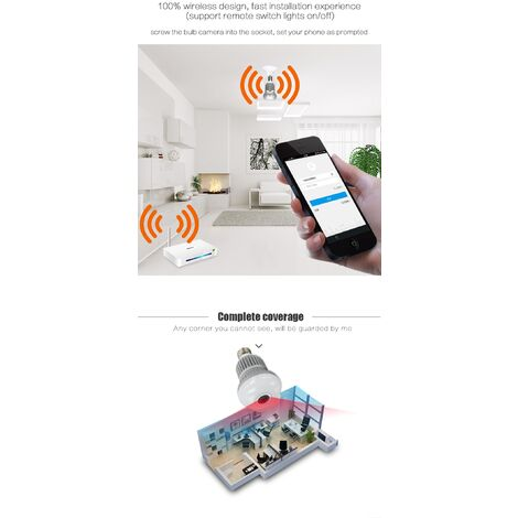 1080P 360 Wireless Wifi IP Fisheye Panoramic Surveillance Camera, Mini Security Camera, Video Bulb, Infrared Night Vision, Home CCTV, LED Lamp