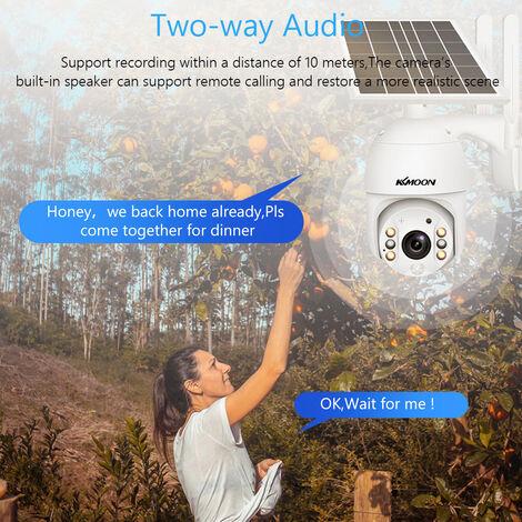 1080P de seguridad inalambrica panel solar de la camara 2MP De Exterieure camara de vigilancia a prueba de agua de la bateria recargable con la vision nocturna de la totalidad de color Soporte de Pir De Deteccion humana, dos maneras de audio, Acceso a Dis