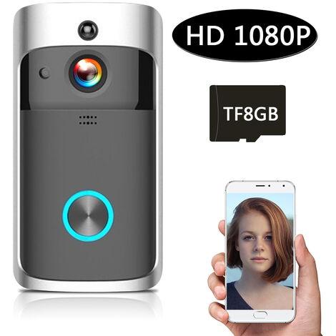 1080P Faible Puissance Intelligente Sonnette Wifi Integre Dans La Carte Memoire 8G Noir