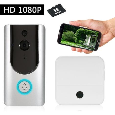 1080P Wifi Sonnette Interphone (Argent) Supporte Ir (Six Lampes Ir) Avec Carte Memoire 8G Avec Un Buzz Interieur (Blanc)