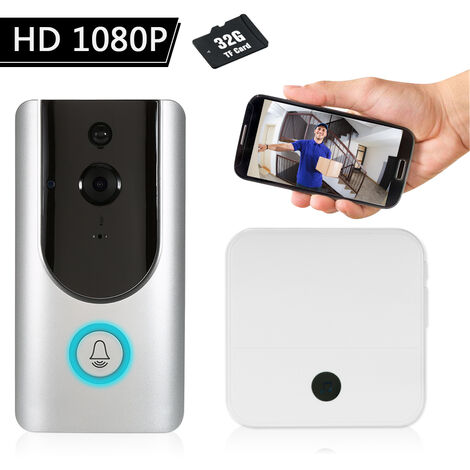1080P Wifi Sonnette Interphone (Argent) Supporte Ir (Six Lampes Ir) Avec Une Carte Memoire Avec Un Buzz Interieur 32G (Blanc)