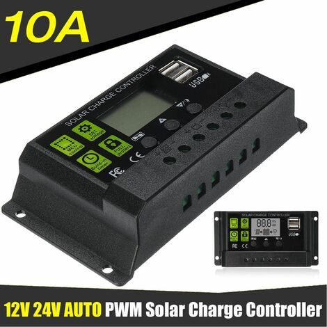 10A 12V / 24V Auto Solar Charge Controller LCD Display PWM USB 5V Output Solar Panel Regulator Charge Controller & Timer