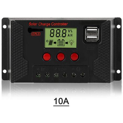 10A Controleur De Charge Solaire, Controleur De Panneau Solaire 12V / 24V Ecran Lcd Reglable Panneau Solaire Regulateur De Batterie Avec Port Usb Double, Charge 3 Types De Batteries, Noir