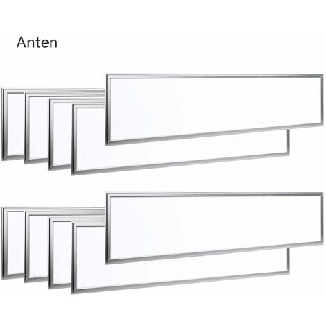 10×Anten Panneau Dalle LED 40W 30×120CM Dalle LED Lumineuse Plafond Blanc Neutre 4000-4500K