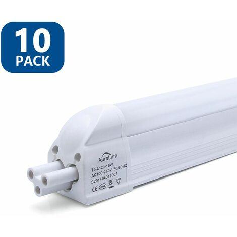 10×Anten T5 Tube LED 120CM Tube de Lumière Fluorescente 16W IP20 avec Réglette Complète Blanc Neutre 4000K