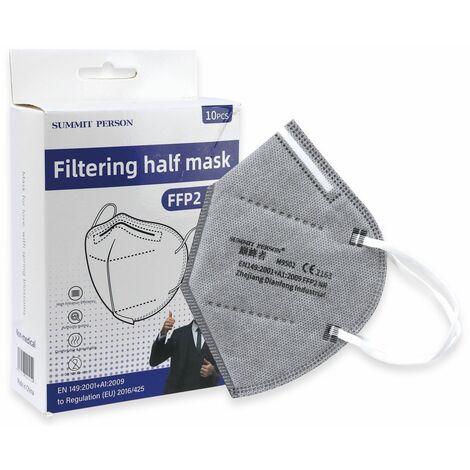 10er Set Atemschutzmasken FFP2 NR, grau