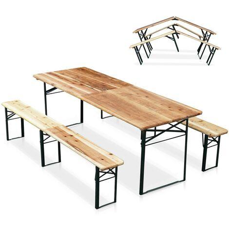 10er Set Bierzeltgarnitur Tisch und Bierbänke klappbar Holz Biergarten Festzelt 220x80