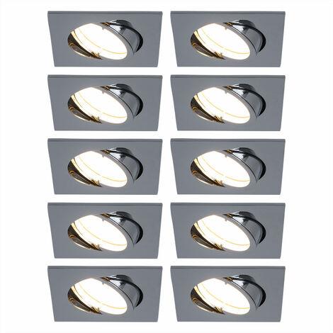 10er Set LED Einbaulampen, dimmbar, silber, eckig, beweglich
