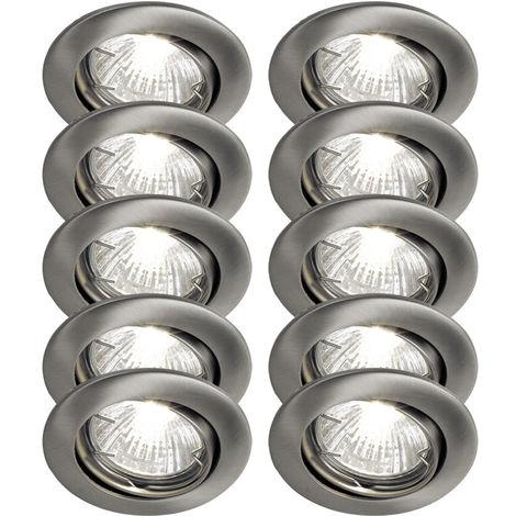 10er Set LED Einbauspots, nickel-matt, D 8 cm, TINUS