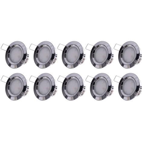4x LED Decken Einbau Leuchten dimmbar Chrom Spot Lampen Feuchtraum Strahler slim