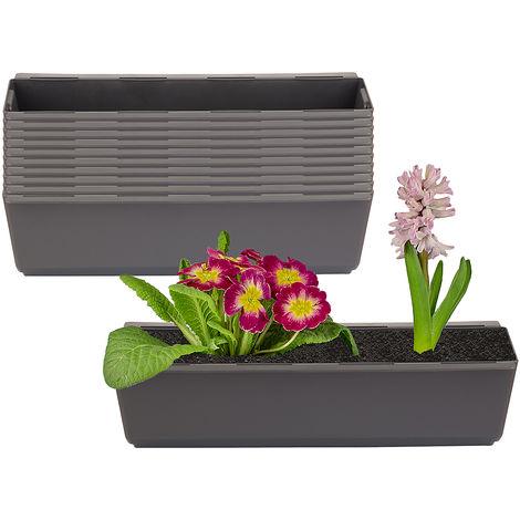 10er Set Pflanzkasten inkl. Aufhänger für Europalette - Blumenkübel in Anthrazit - LxBxH ca. 37 x 13,5 x 9,5 cm - Ideal zum Hängen & Stellen - Robust & wetterfest -
