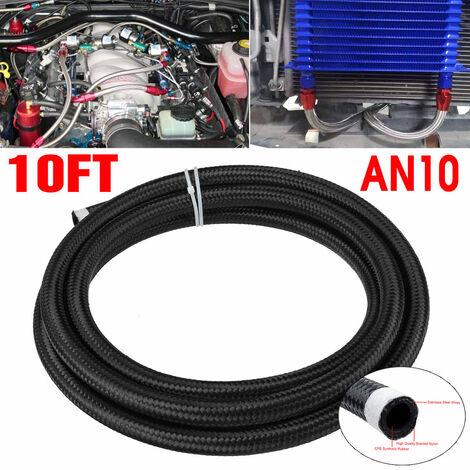 10FT AN10 Tuyau de carburant de voiture Ligne de gaz de pétrole Acier inoxydable en nylon tressé noir (AN10)