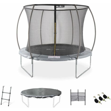 10ft Trampoline with accessories kit - Ø305 cm - Mars Inner - New Design - Garden trampoline with curved tubes 2.5 m |Quality PRO. | EU standards.