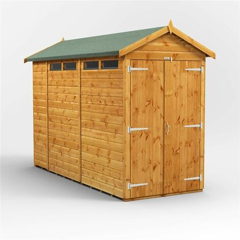 10ft x 4ft Security Tongue and Groove Apex Shed - Double Doors - 4 Windows - 12mm Tongue and Groove Floor and Roof