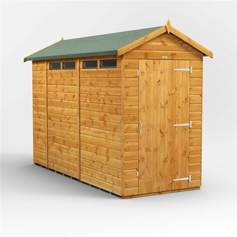 10ft x 4ft Security Tongue and Groove Apex Shed - Single Door - 4 Windows - 12mm Tongue and Groove Floor and Roof