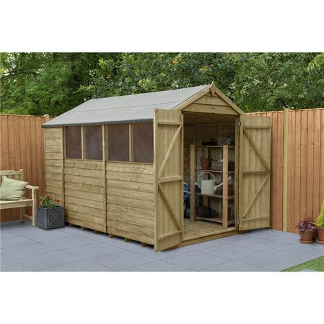 10ft x 6ft Pressure Treated Overlap Apex Wooden Garden Shed - Double Doors (3.1m x 1.9m) - Modular (CORE)