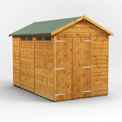 10ft x 6ft Security Tongue and Groove Apex Shed - Double Doors - 4 Windows - 12mm Tongue and Groove Floor and Roof