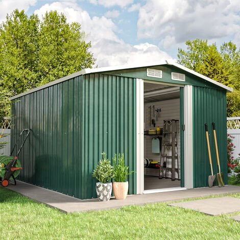 10ft x 8ft Green Metal Garden Shed Garden Storage WITH FREE BASE Foundation