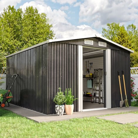 10ft x 8ft Metal Garden Shed Outdoor Tool shed - Dark Grey