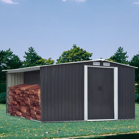 10ft x 8ft Metal Garden Tools Shed With Firewood Log Storage-Dark Grey