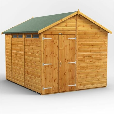 10ft x 8ft Security Tongue and Groove Apex Shed - Single Door - 4 Windows - 12mm Tongue and Groove Floor and Roof